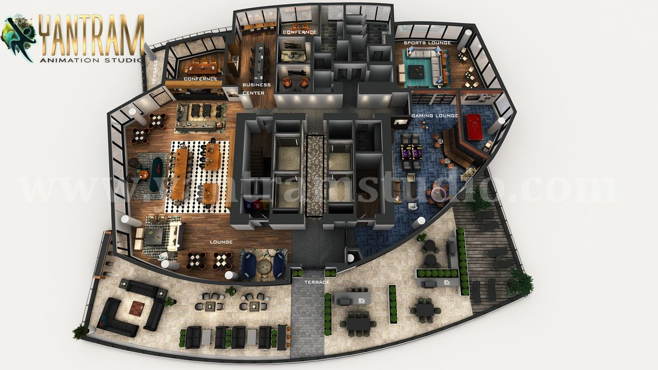 Professional 3d Combined Commercial Office Residential Floor Plan Design By Architectural Stud Architectural Design Studio Rooftop Design Floor Plan Design