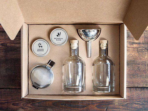 The HomeMade Gin Kit - Make high quality, small batch gin at home. Ready in 36 hours, this makes a great weekend DIY project for yourself or a unique gift for a gin loving friend.  $50.00