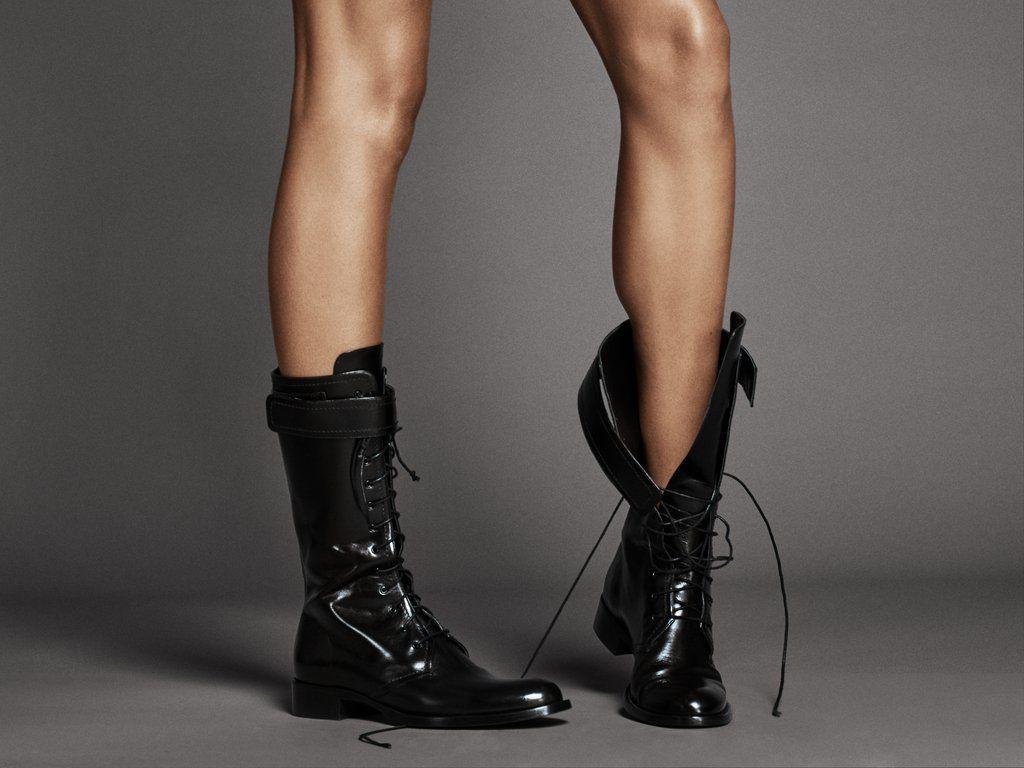 Vitello Mid-Calf Combat Boot | Tamara