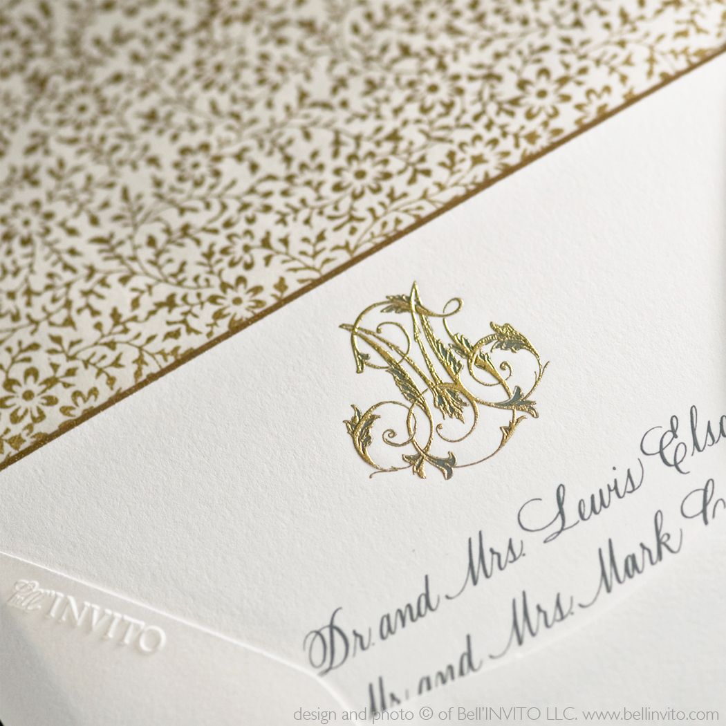 An intricate, hand-drawn, custom monogram from Bell\'INVITO paired ...
