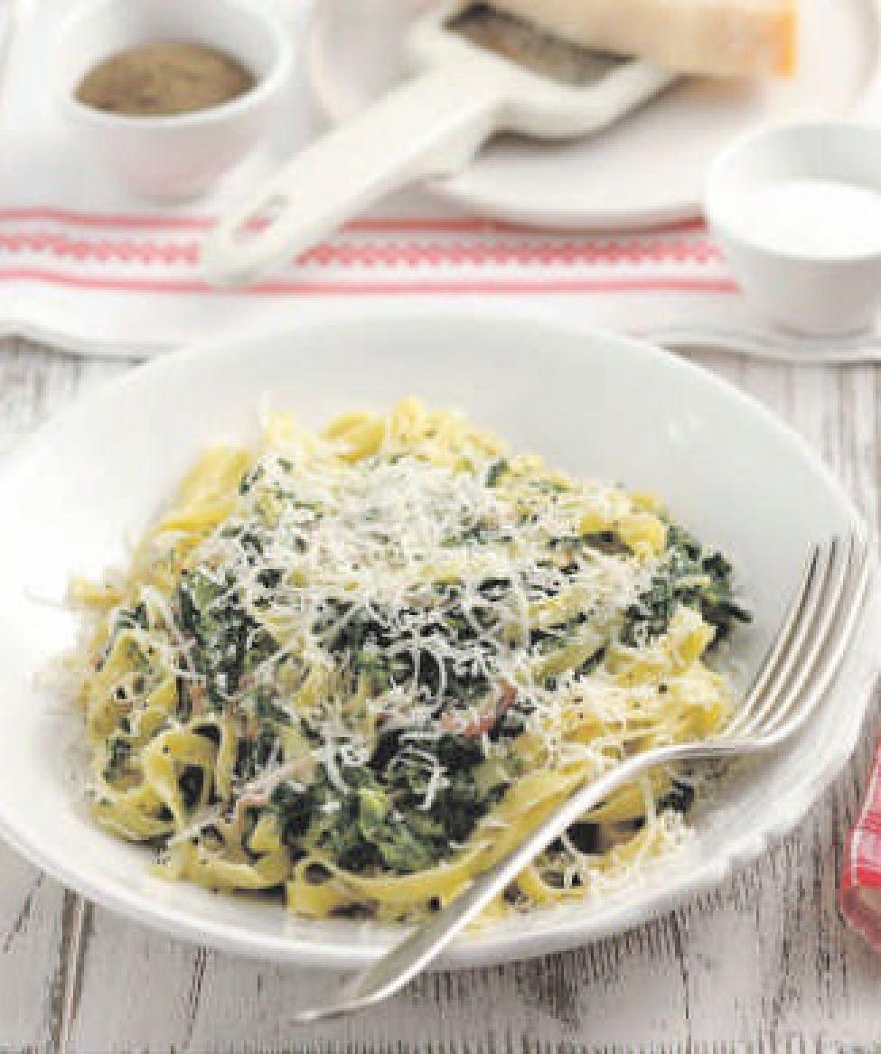tagliatelle met spinazie en ham