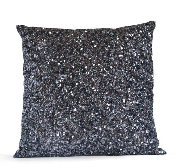 Delightful High End Designer Throw Pillows Part - 8: Designer Throw Pillow Cover, Grey Silk Luxury Confetti Decorative Pillows,  Gray Sequin Beads Cushion, High End Pillow Case, Wedding Registry