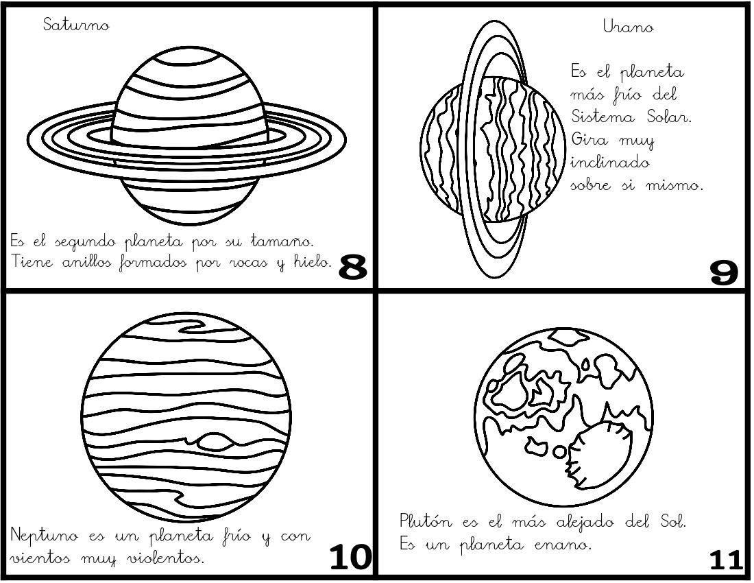 Un Minilibro Para Colorear Y Recortar Planetas Del Sistema Solar Sistema Solar Planetas