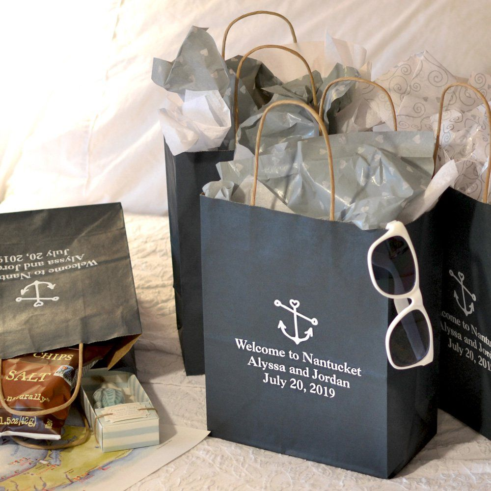 Gifts For Out Of Town Wedding Guests: 8 X 10 Kraft Wedding Welcome Gift Bags Personalized In
