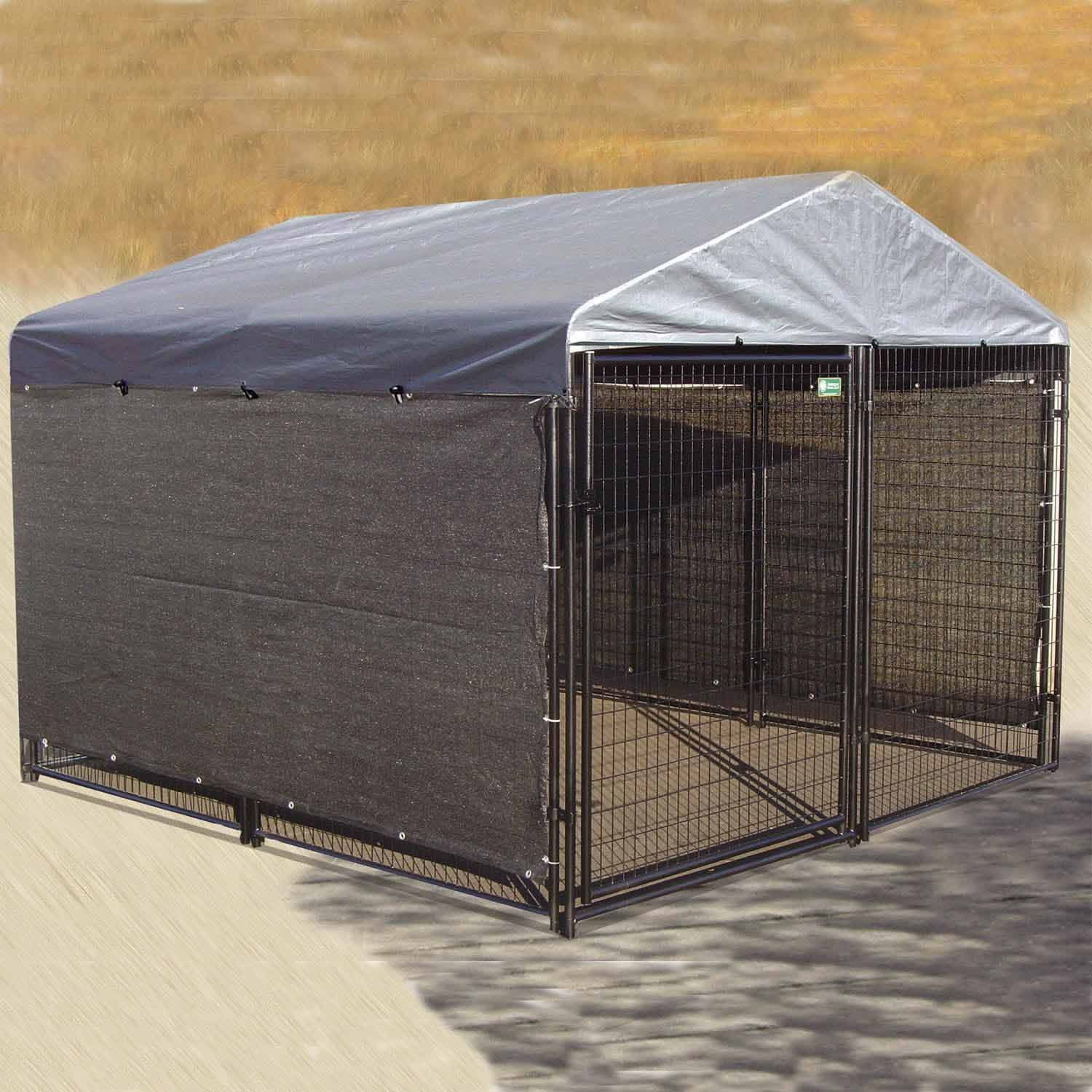 The Lucky Dog Heavy Duty Shade Cloth Helps Protect Your Pet From Wind Snow And Rain Heavy Duty Construction With Br Dog Kennel Cover Outside Dogs Dog Kennel