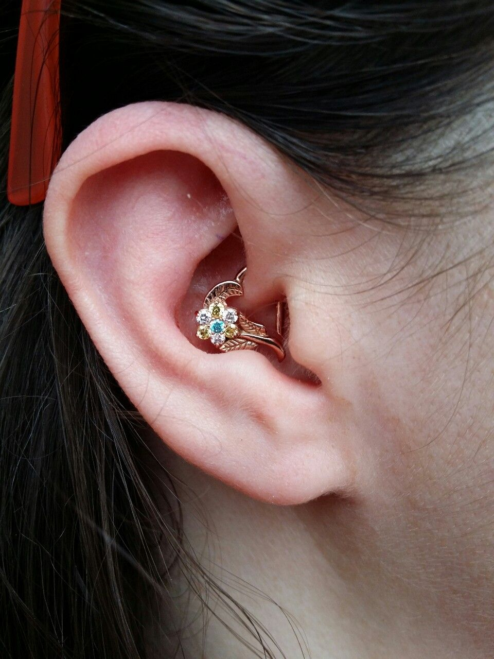 Daith Piercing I Performed Today Featuring A 14 Kt Rose Gold Tammy Heart  From Leroi Fine