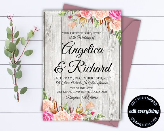 df7a482e5b6 Rustic Floral Wedding Invitation Template Barn Wedding. Rustic Floral  Wedding Invitation Template Barn Wedding Wedding Shower Invitations