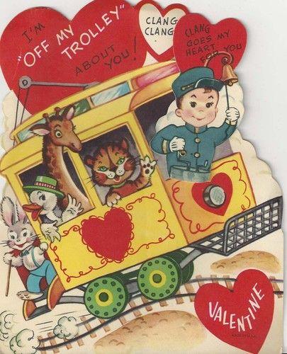 trolley ..  Vintage valentine card