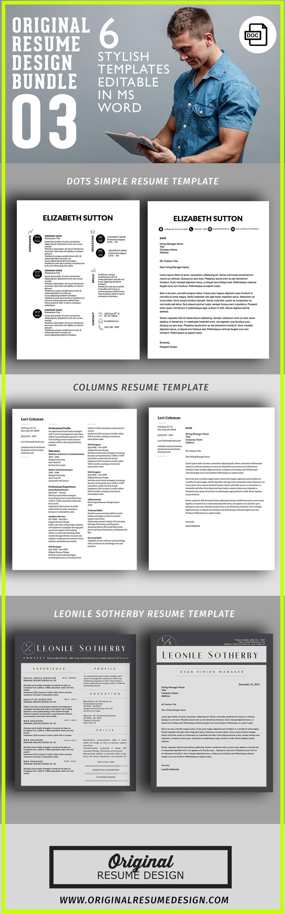 Dots Simple Modern Unique Resume Template for Microsoft Word & Apple ...