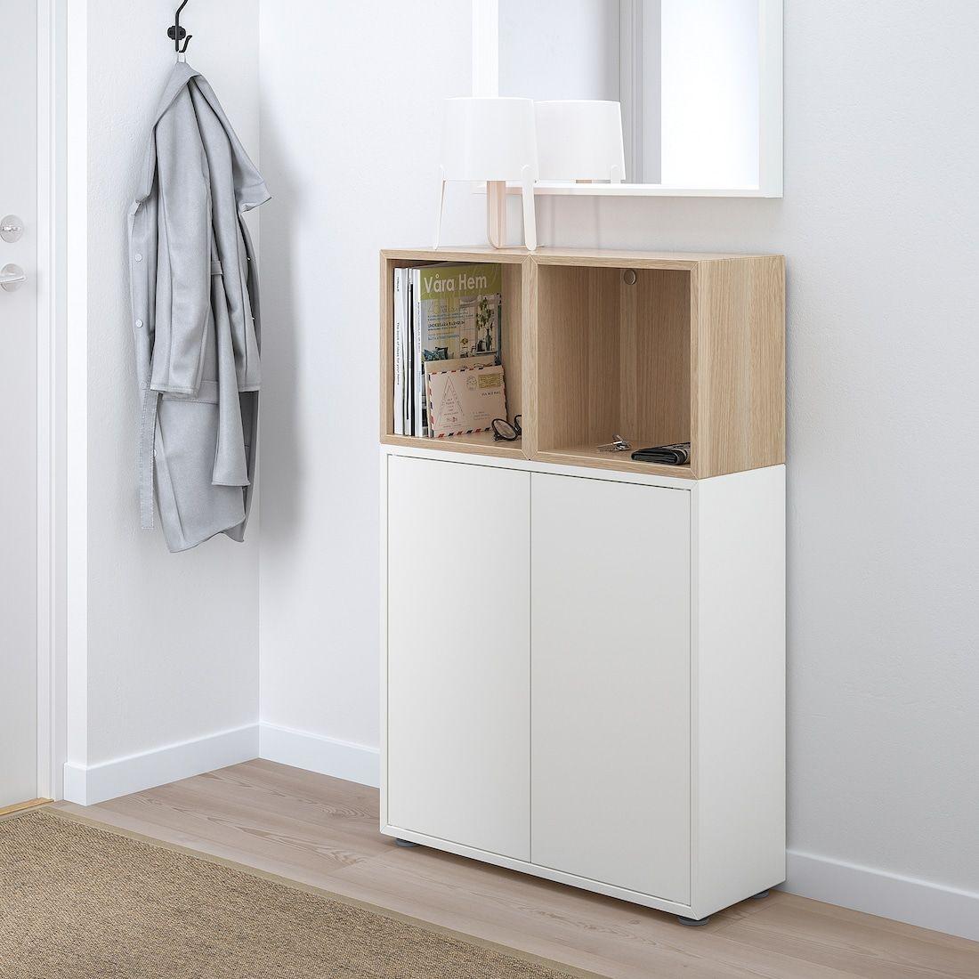 Eket Storage Combination With Feet White White Stained Oak Effect Width 27 Ikea In 2020 Eket Ikea Eket Ikea