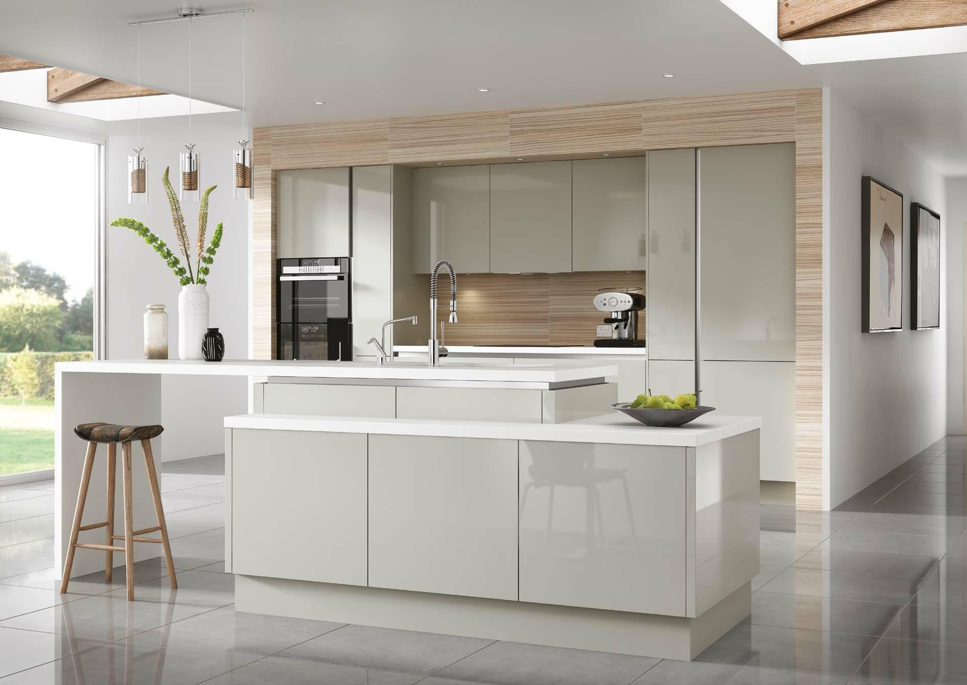 True Grey Gloss Handleless Kitchen Design By Sheraton Interiors! Browse  Sheraton Interiors For Kitchen Ideas