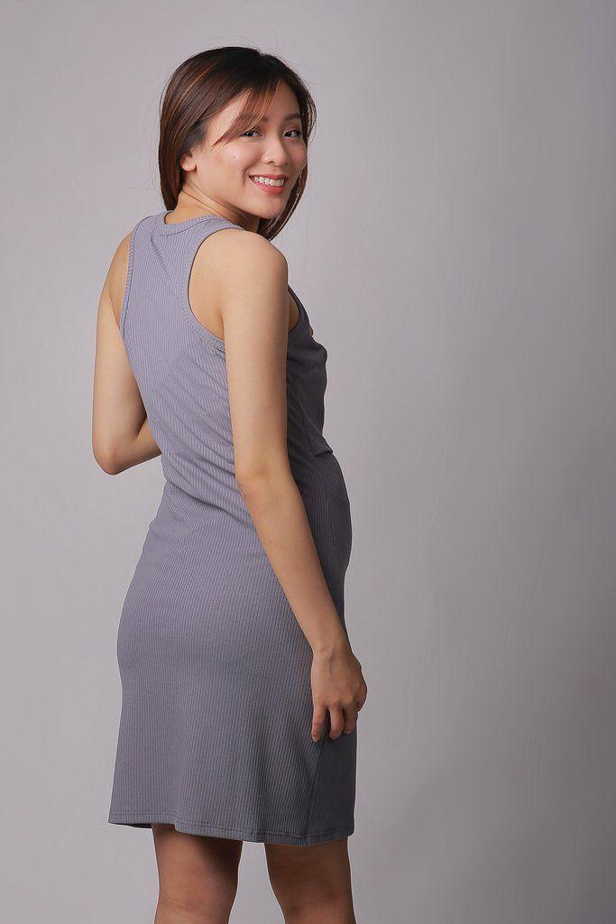 baf1cf95260 Kyra Grey Knit Maternity Dress Pregnancy ootd fashion