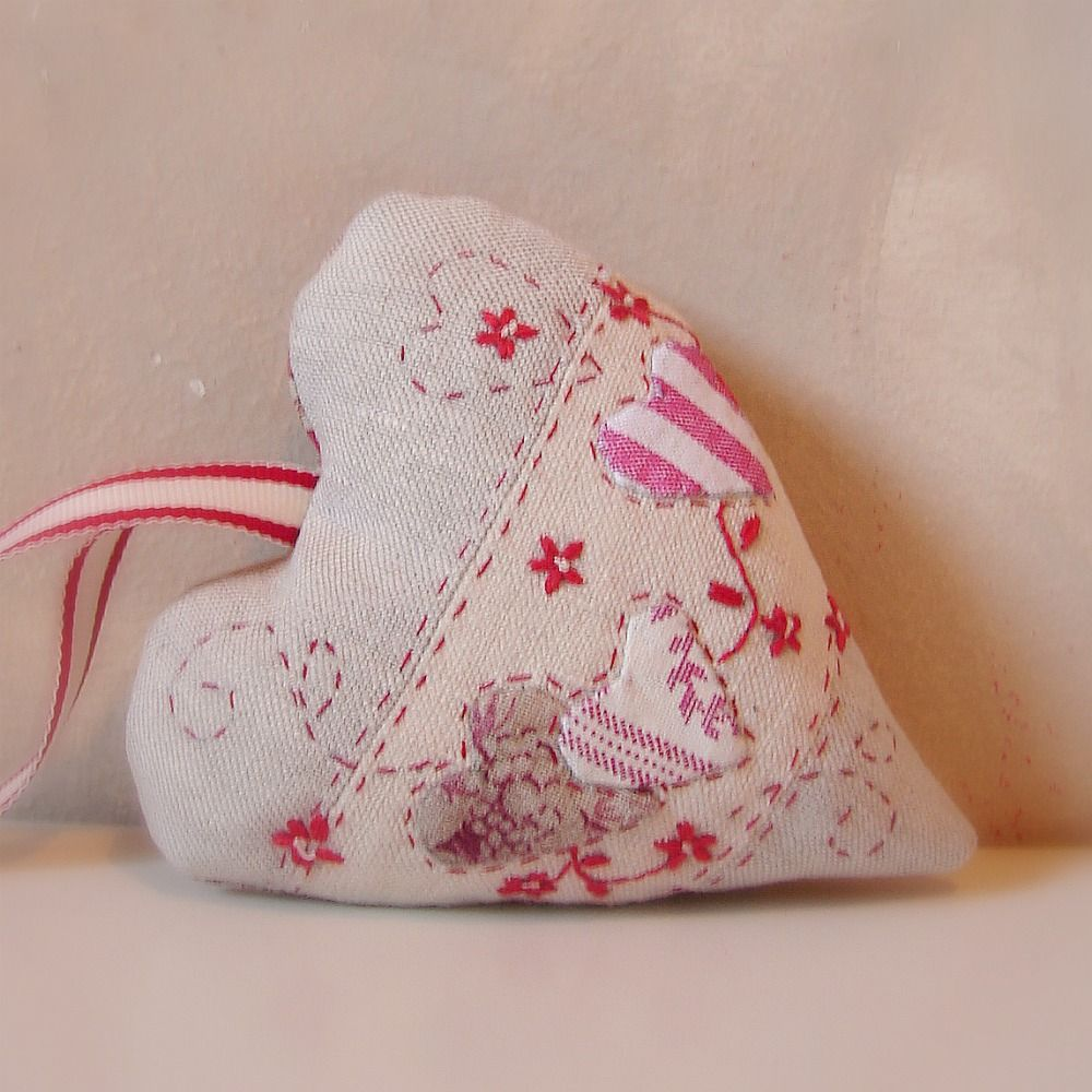 Embroidered christmas ornaments - Linen Embroidered Heart
