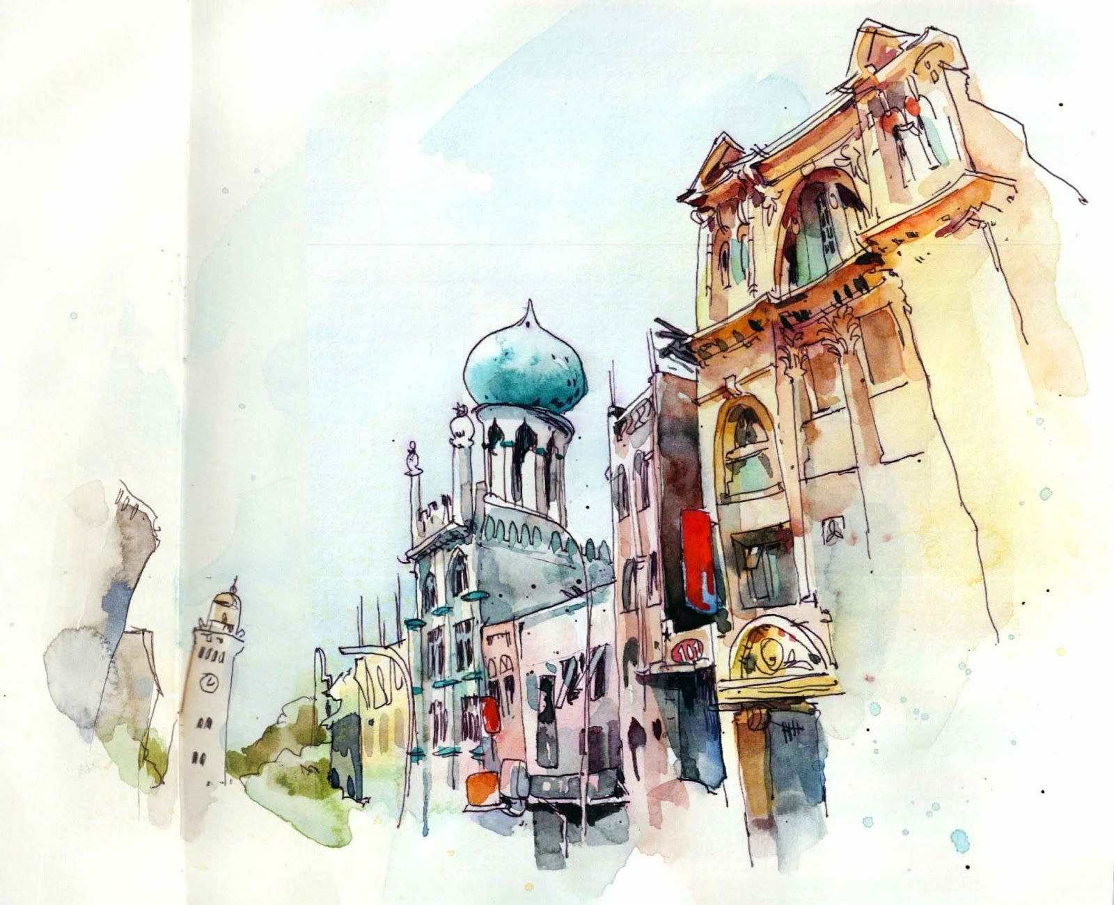 Colombo Fort Urban Sketching Watercolor Architecture Urban