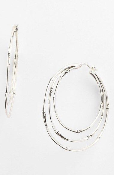 Women's John Hardy 'Bamboo' Medium Orbital Hoop Earrings Sterling Silver One Size