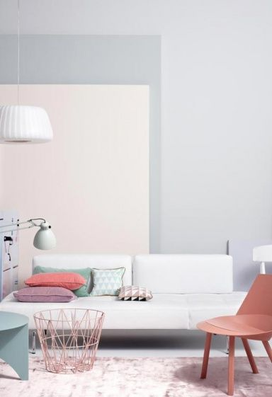 wohnen mit farbe pastell als wandfarbe mit farbigen m beln wohnb hne in grau inspiration. Black Bedroom Furniture Sets. Home Design Ideas