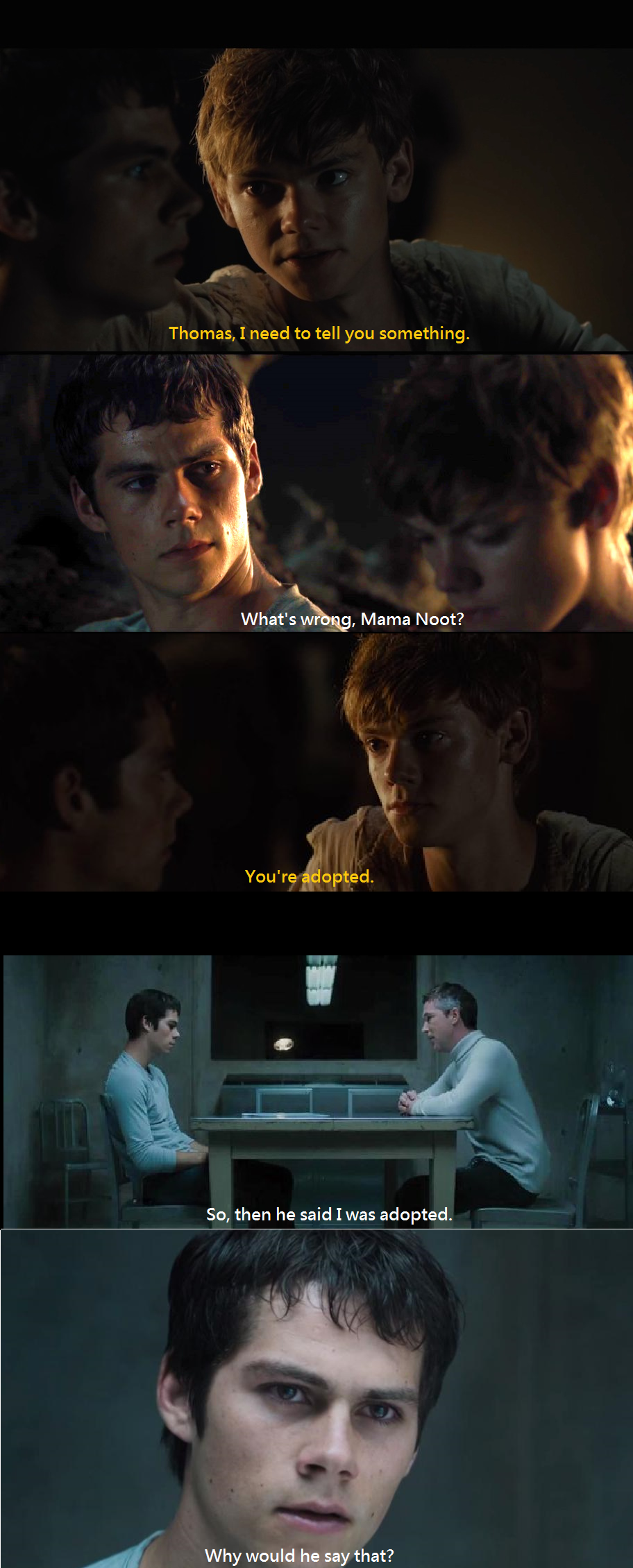 Mama Noot (The Maze Runner, The Scorch Trials, Dylan O'Brien, Thomas Sangster, Newt)