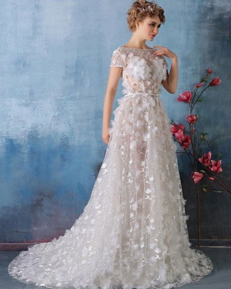 Find More Wedding Dresses Information About Fashion 3d Flowers 2017 O Neck Appliques Lace