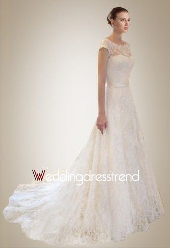 Splendid Scoop Cap Sleeve Chapel Train Lace Wedding Dress