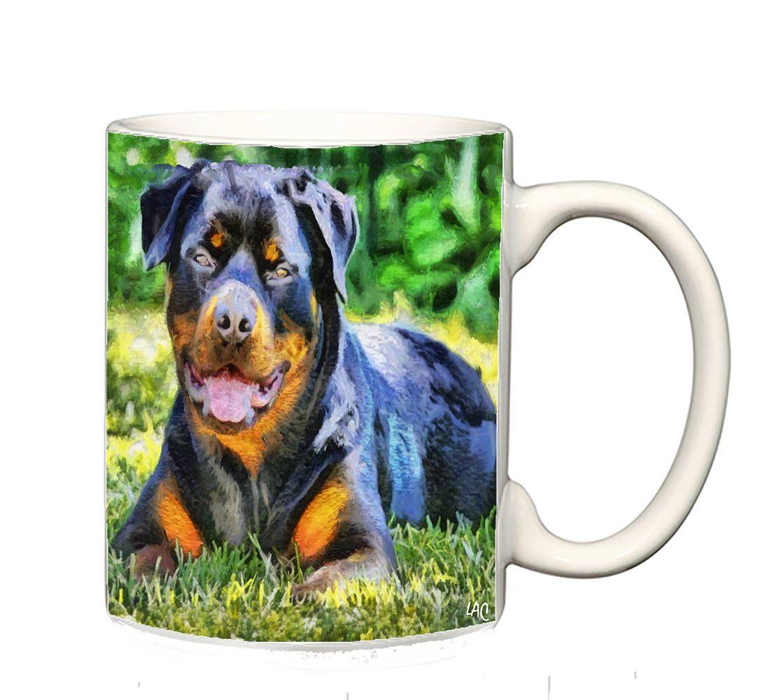 Rotweiler - 'Lina' - e Ceramic Coffee/Latte Mugs by DoggyLips - 2 Sizes by DoggyLips on Etsy
