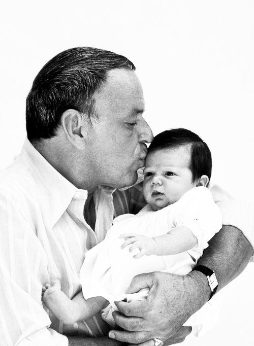 frank sinatra with his granddaughter AJ in 1974