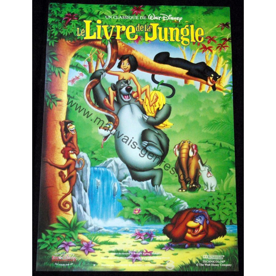 Livre De La Jungle Affiche 40x60 Bleue Fr R92 Walt Disney