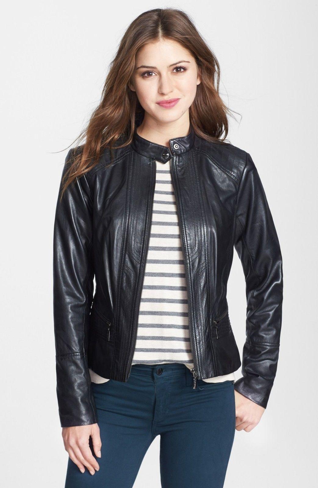 Women Designer 100 Pure Lambskin Leather Casual Biker