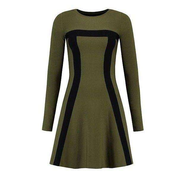JINTHA TWO TONE DRESS (€85) ❤ liked on Polyvore featuring dresses, green dress, two-tone dress, viscose dress, 2 tone dress and rayon dress