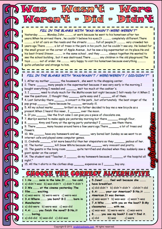 worksheet Was Were Worksheets auxiliary verbs was were did esl exercises worksheet 2 worksheet