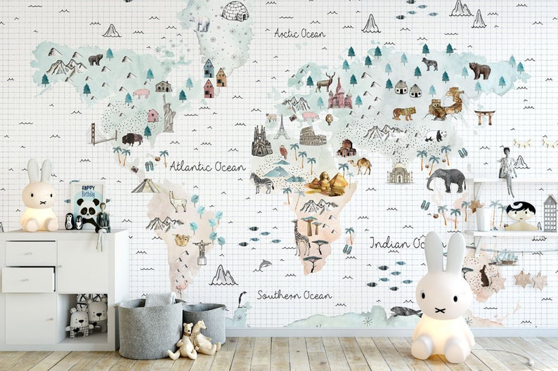 Kids Wallpaper Peel And Stick Self Adhesive Soft World Map Etsy Kids Room Wallpaper Map Wall Mural Kids Wallpaper