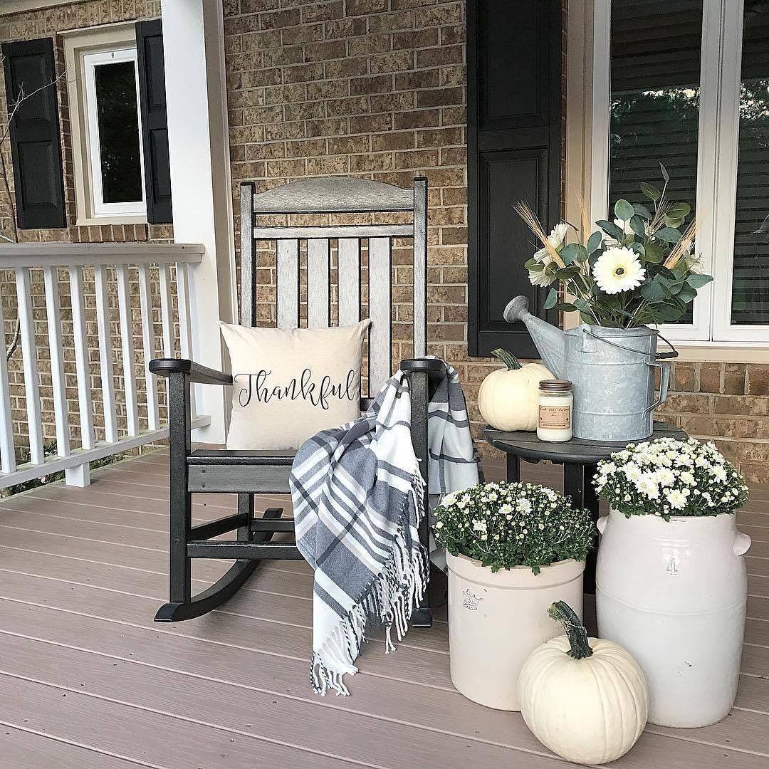 Urban Farmhouse Fall Porch Decor, Black Rocker, Thankful
