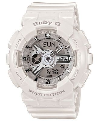 876fe8fb00 Baby-G Watch, Women's Analog-Digital White Resin Strap 43x46mm BA110-7A3 -  Watches - Jewelry & Watches - Macy's