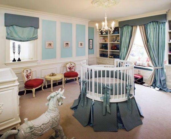 Babybett Rund Schönes Babyzimmer   Blaue Farbe   Rundes Babybett Für Ein  Gemütliches