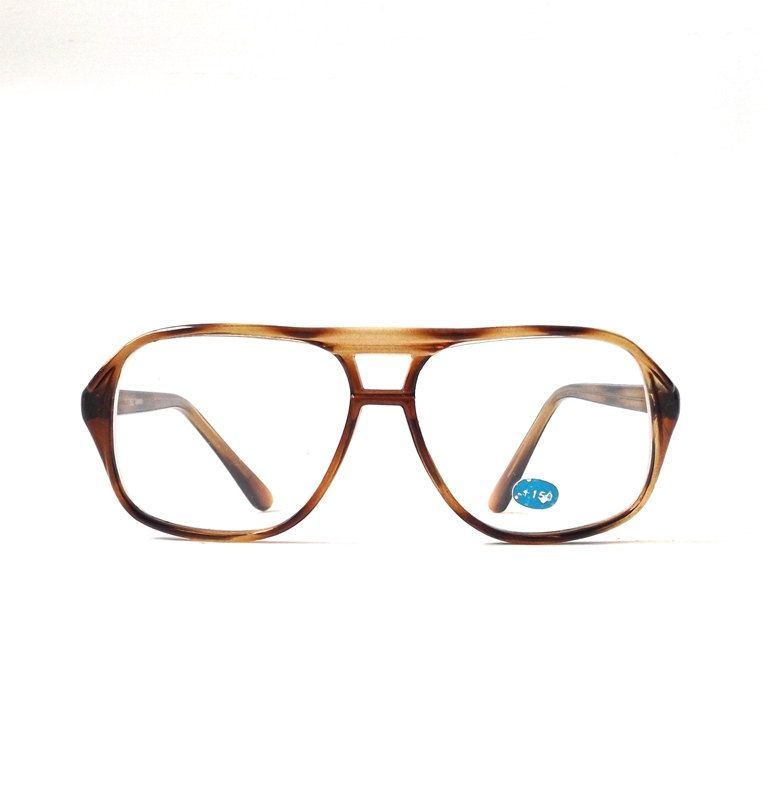 fb45ff8a05 vintage 1980 s NOS aviator reading +1.50 eyeglasses brown tortoise shell  plastic frames eye glasses readers eyewear oversize mens womens old by ...