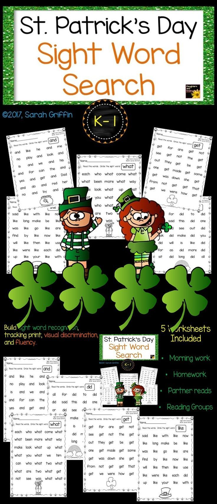 worksheet Visual Discrimination Worksheets For First Grade st patricks day sight word search worksheets and pre school