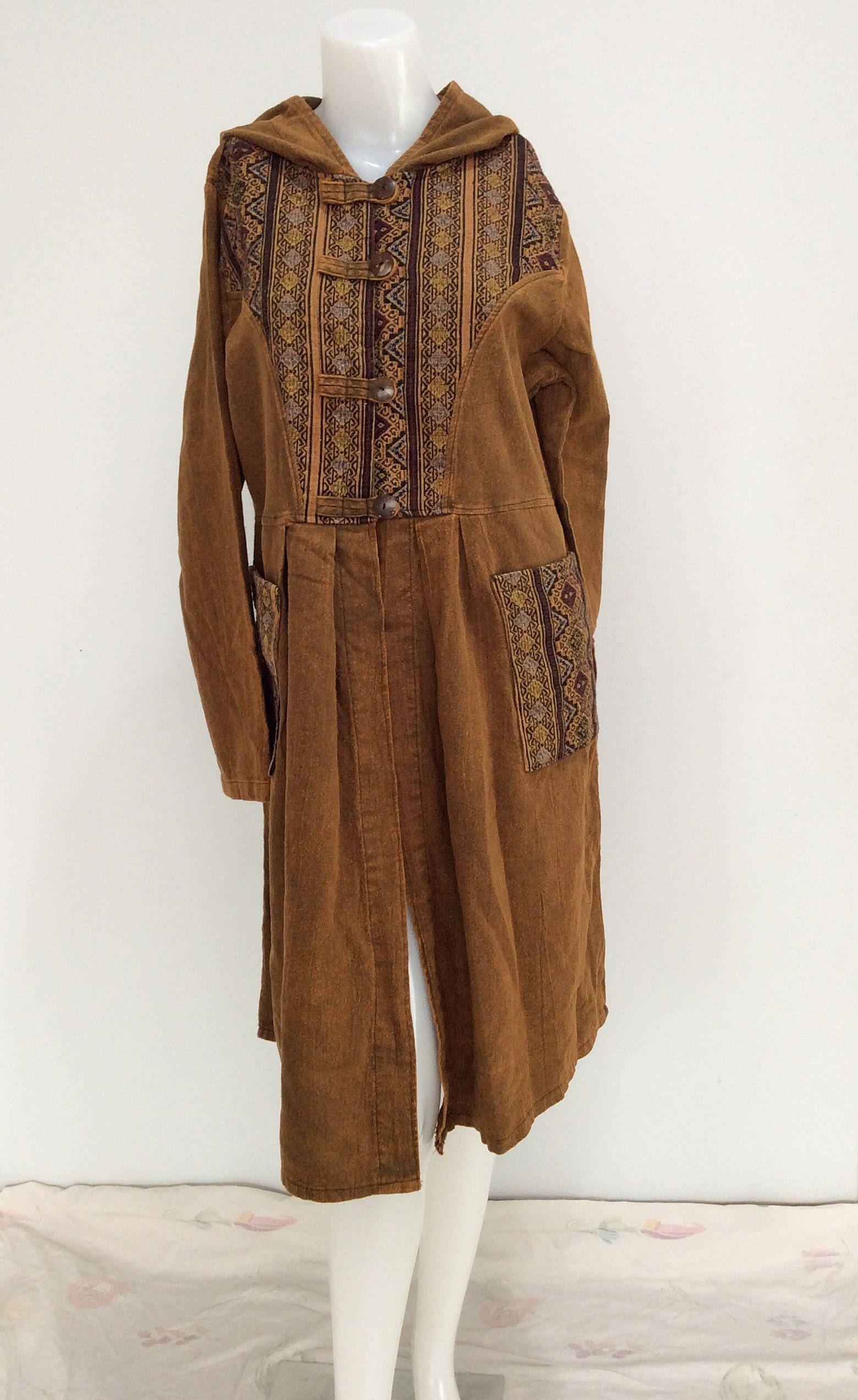 Tan brown gold color bohemian overcoatmaxi coatlong coattop