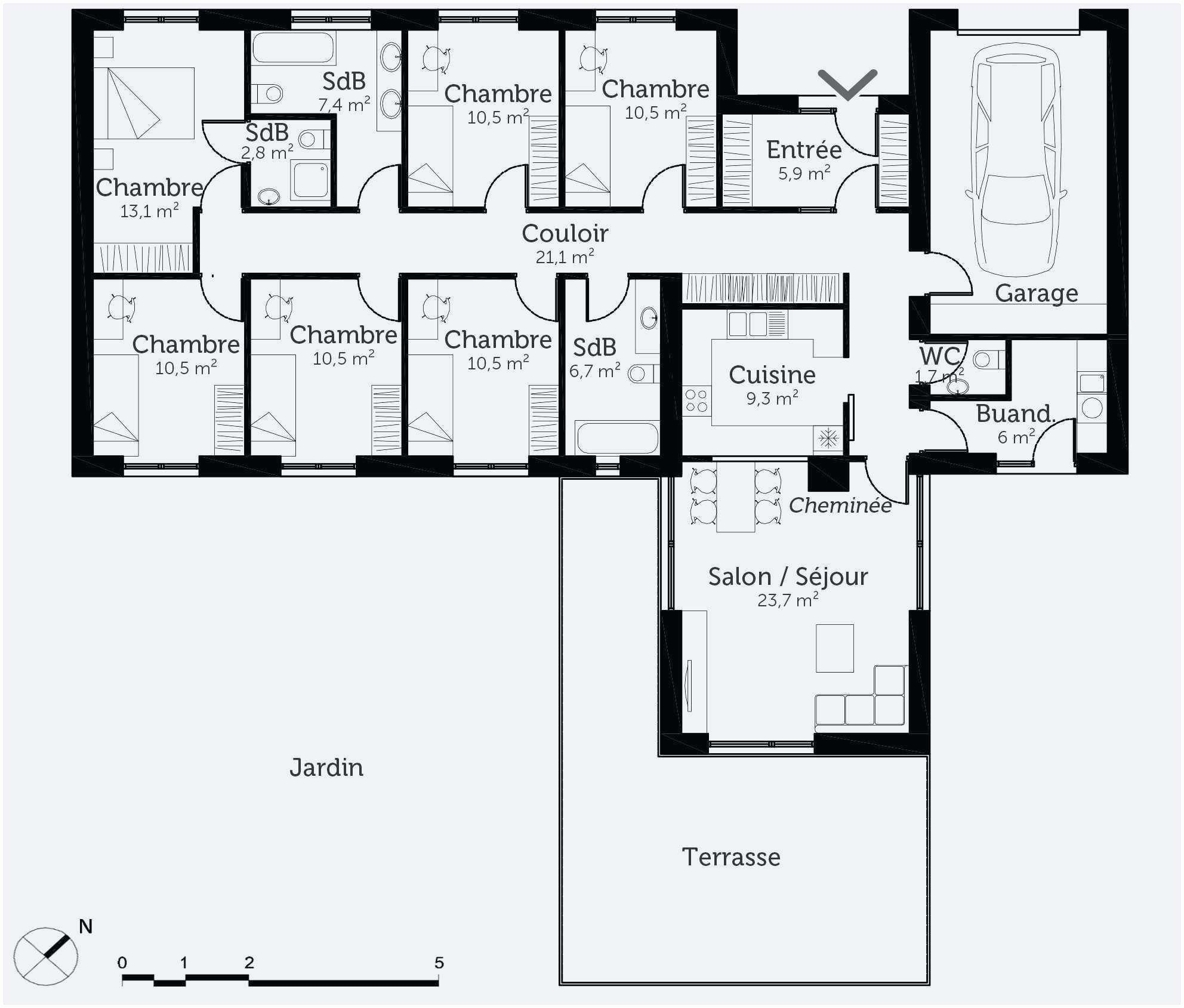 36 Plan Maison Plain Pied 3 Chambres 100m2 | How to plan, Floor plans, Interior design bedroom