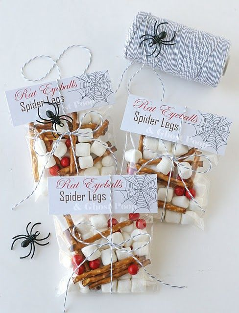rat eyeballs (also known as red sixlets), spider legs (also known as - cute halloween gift ideas