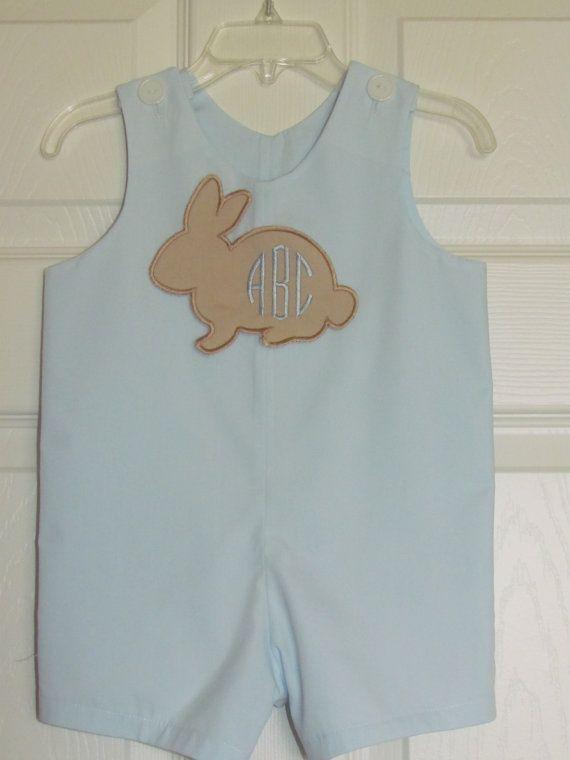 Baby Boy Easter Bunny Applique Monogram by ...