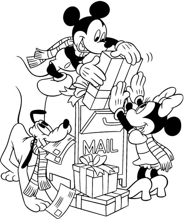 Mickey Minnie Pluto Christmas Mail Coloring Page