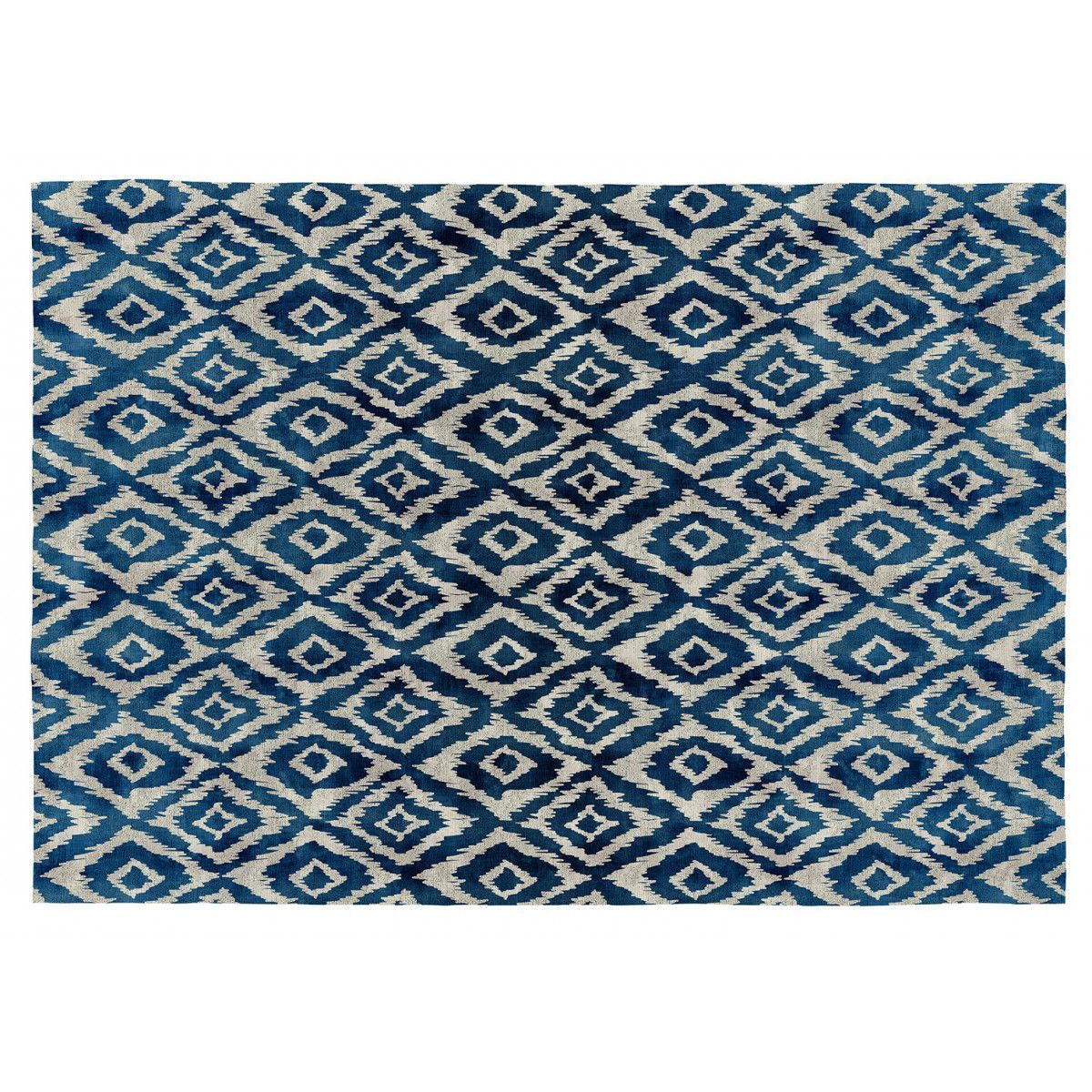 tapis bleu ethnique plat vivabita
