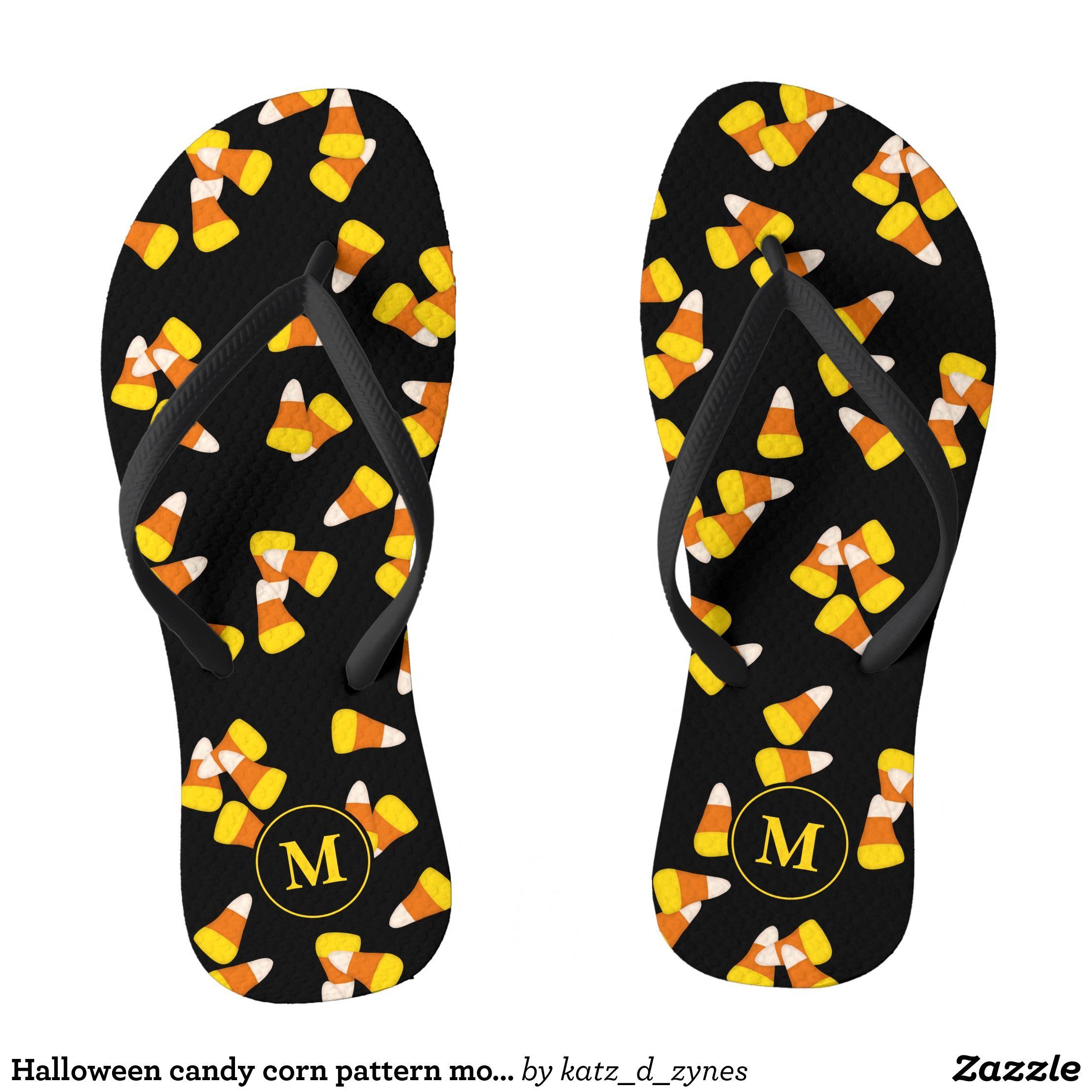 Halloween candy corn pattern monogrammed flip flops
