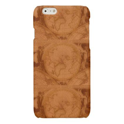 Tanned leather red brown old world map glossy iphone 6 case gumiabroncs Images