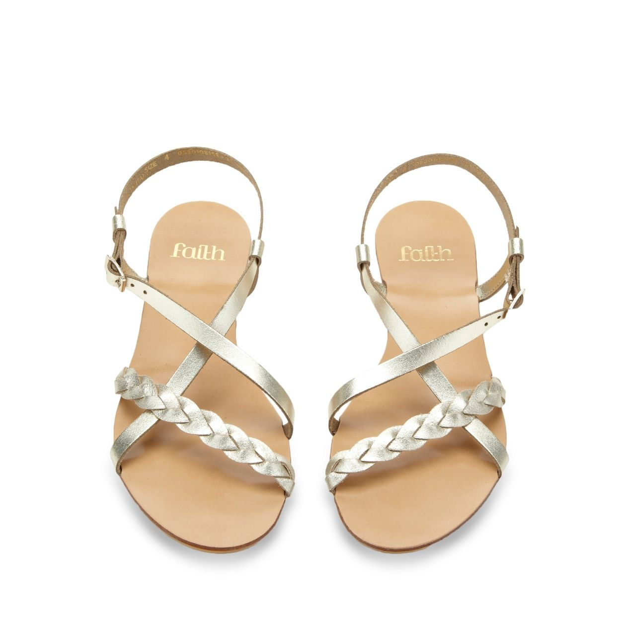 Women's sandals debenhams - Faith Light Gold Leather Plaited Strap Sandals At Debenhams Com