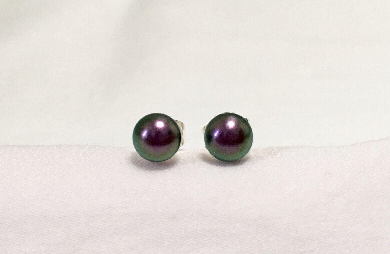 Swarovski Pearl Stud Earring / Iridescent Purple Pearl Earrings / Purple Stud Earrings / Small Purple Earrings / Small Pearl Earrings by PandaStringsJewelry on Etsy