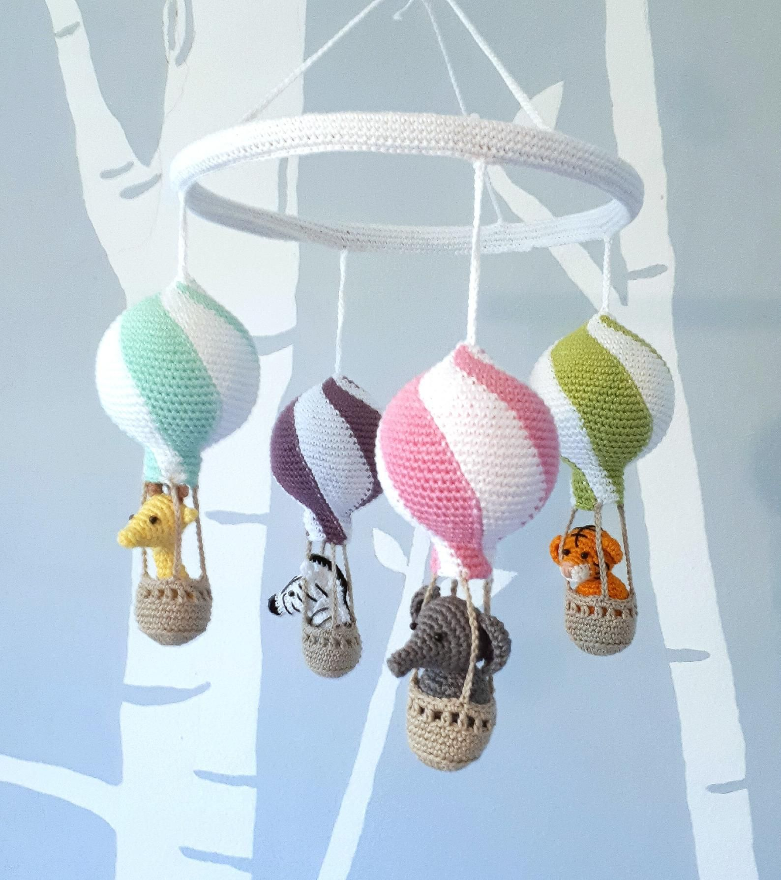 Custom hot air balloon baby mobile, personalized nursery