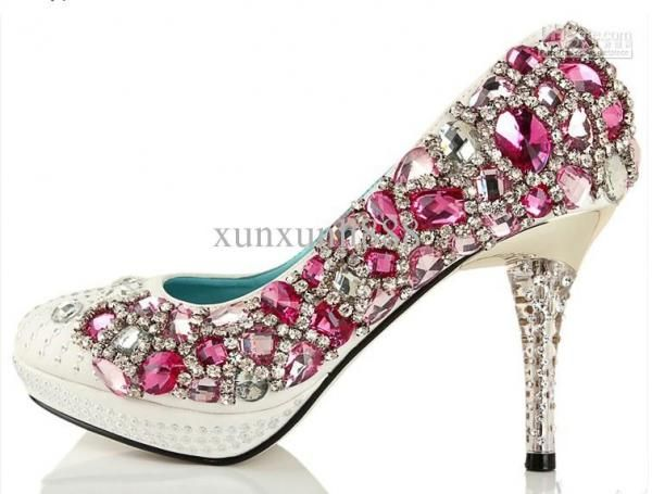 Custom Made Hand Design Crystal Bride Heel Wedding High Heeled Shoes Silver 10cm