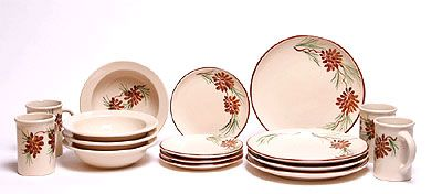 Pinecone pattern dinnerware set from Emerson Creek Pottery. My favorite!