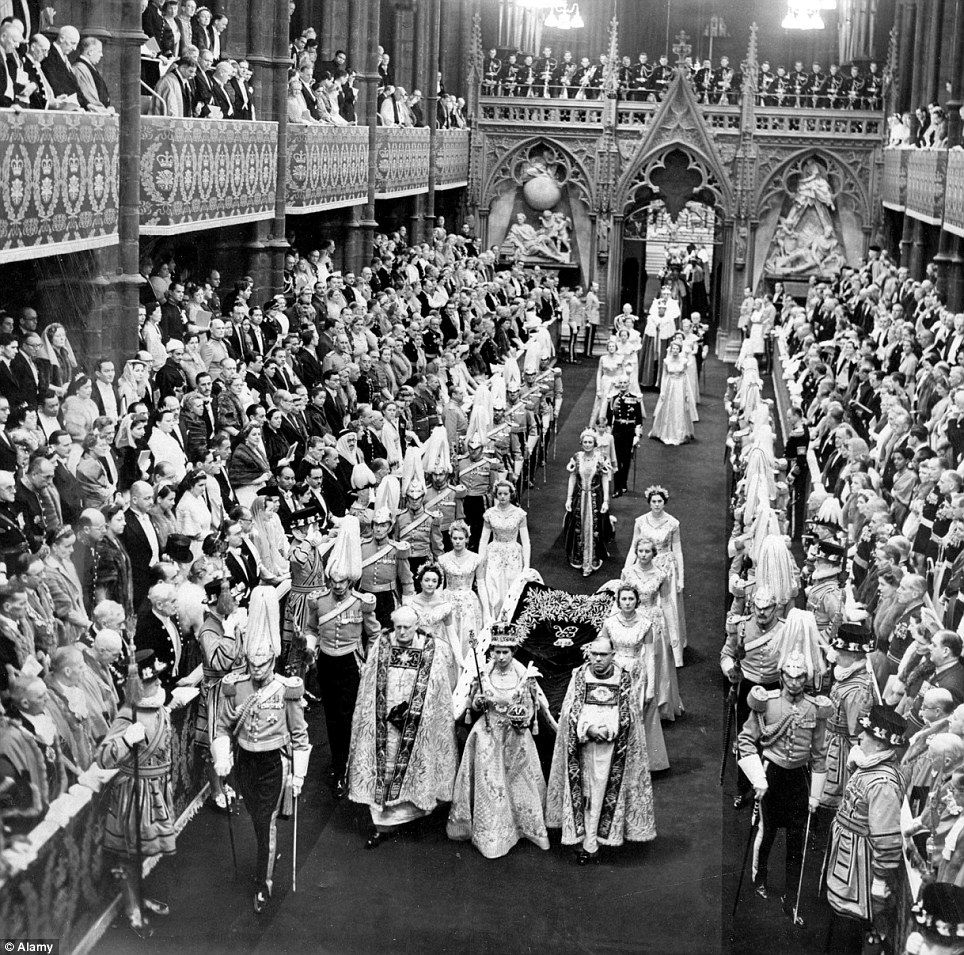 Historic: The Queen arrives at Westminster Abbey for the Coronation ceremony in 1953