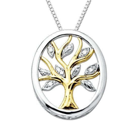 Amazoncom XPY Sterling Silver and 14k Yellow Gold Diamond Tree Of